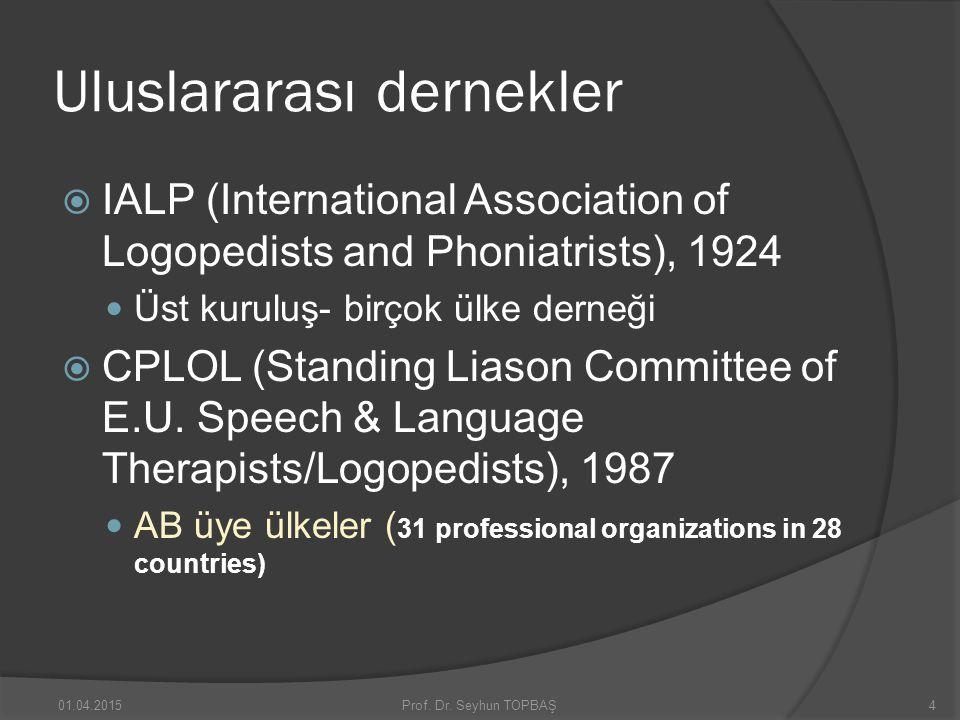 Uluslararası dernekler  IALP (International Association of Logopedists and Phoniatrists), 1924 Üst kuruluş- birçok ülke derneği  CPLOL (Standing Lia