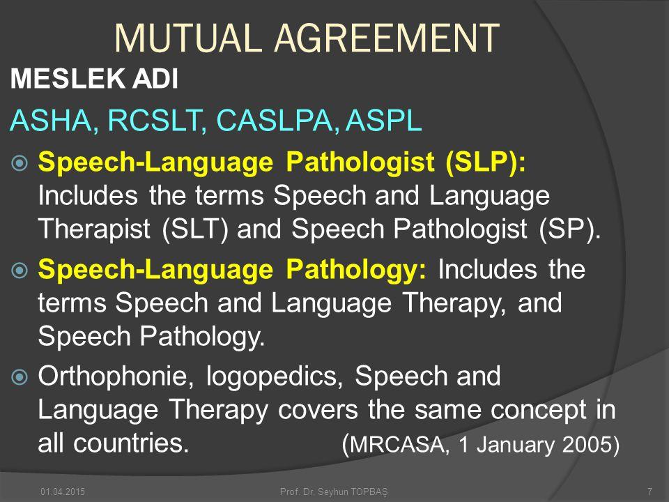 MUTUAL AGREEMENT MESLEK ADI ASHA, RCSLT, CASLPA, ASPL  Speech-Language Pathologist (SLP): Includes the terms Speech and Language Therapist (SLT) and