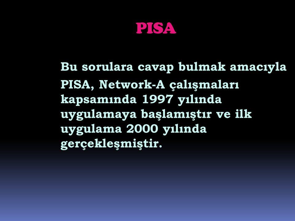 PISA Bu sorulara cavap bulmak amacıyla PISA, Network-A çalışmaları kapsamında 1997 yılında uygulamaya başlamıştır ve ilk uygulama 2000 yılında gerçekl