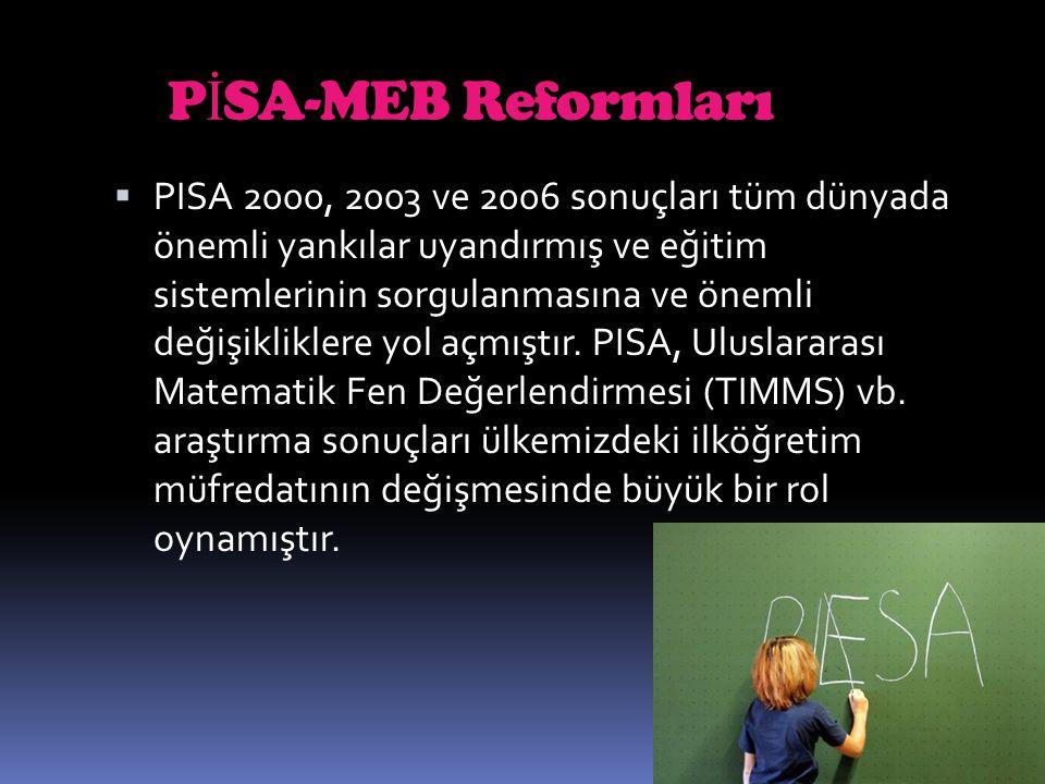 P İ SA-MEB Reformları  PISA 2000, 2003 ve 2006 sonuçları tüm dünyada önemli yankılar uyandırmış ve eğitim sistemlerinin sorgulanmasına ve önemli deği