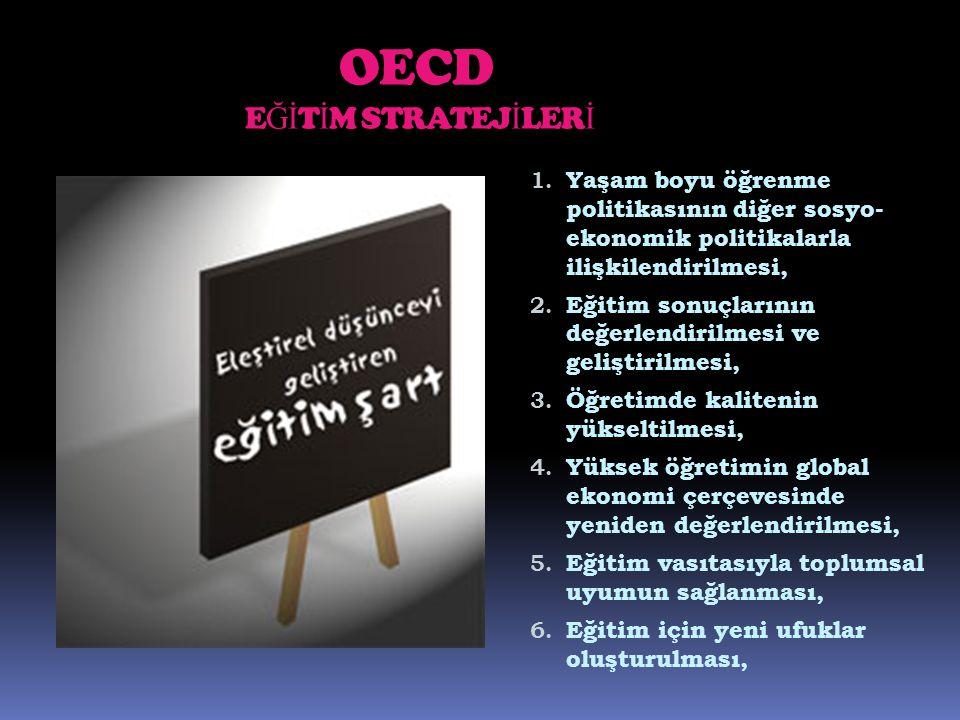 OECD E Ğİ T İ M STRATEJ İ LER İ 1. Yaşam boyu öğrenme politikasının diğer sosyo- ekonomik politikalarla ilişkilendirilmesi, 2. Eğitim sonuçlarının değ