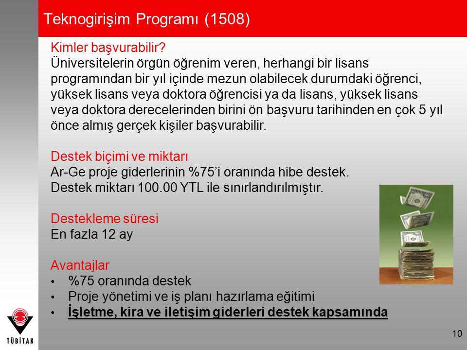 10 Teknogirişim Programı (1508) Kimler başvurabilir? Üniversitelerin örgün öğrenim veren, herhangi bir lisans programından bir yıl içinde mezun olabil