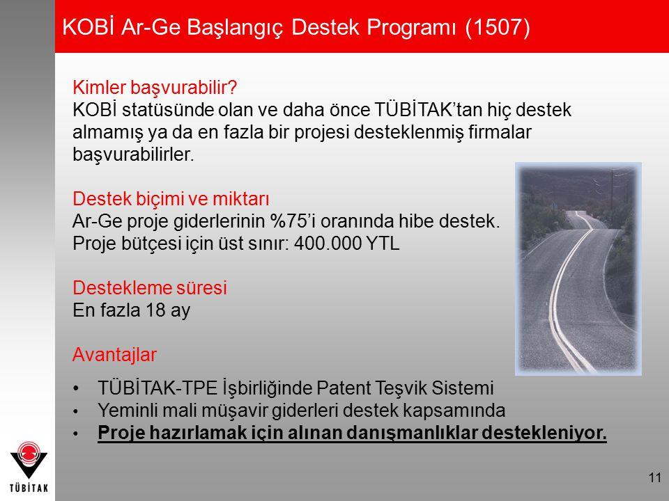 11 KOBİ Ar-Ge Başlangıç Destek Programı (1507) Kimler başvurabilir? KOBİ statüsünde olan ve daha önce TÜBİTAK'tan hiç destek almamış ya da en fazla bi