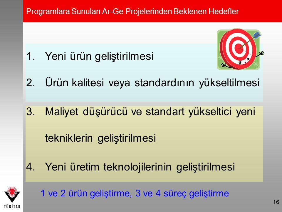 16 Programlara Sunulan Ar-Ge Projelerinden Beklenen Hedefler 1.Yeni ürün geliştirilmesi 2.Ürün kalitesi veya standardının yükseltilmesi 3.Maliyet düşü