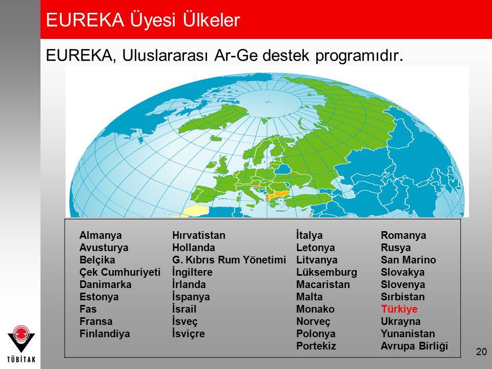 EUREKA Üyesi Ülkeler EUREKA, Uluslararası Ar-Ge destek programıdır. 20 Almanya Avusturya Belçika Çek Cumhuriyeti Danimarka Estonya Fas Fransa Finlandi