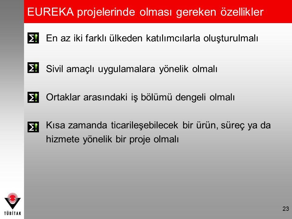 EUREKA projelerinde olması gereken özellikler En az iki farklı ülkeden katılımcılarla oluşturulmalı Sivil amaçlı uygulamalara yönelik olmalı Ortaklar