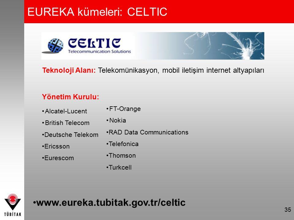 EUREKA kümeleri: CELTIC 35 Teknoloji Alanı: Telekomünikasyon, mobil iletişim internet altyapıları Yönetim Kurulu: Alcatel-Lucent British Telecom Deuts