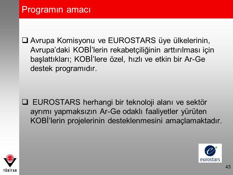 Programın amacı  Avrupa Komisyonu ve EUROSTARS üye ülkelerinin, Avrupa'daki KOBİ'lerin rekabetçiliğinin arttırılması için başlattıkları; KOBİ'lere öz
