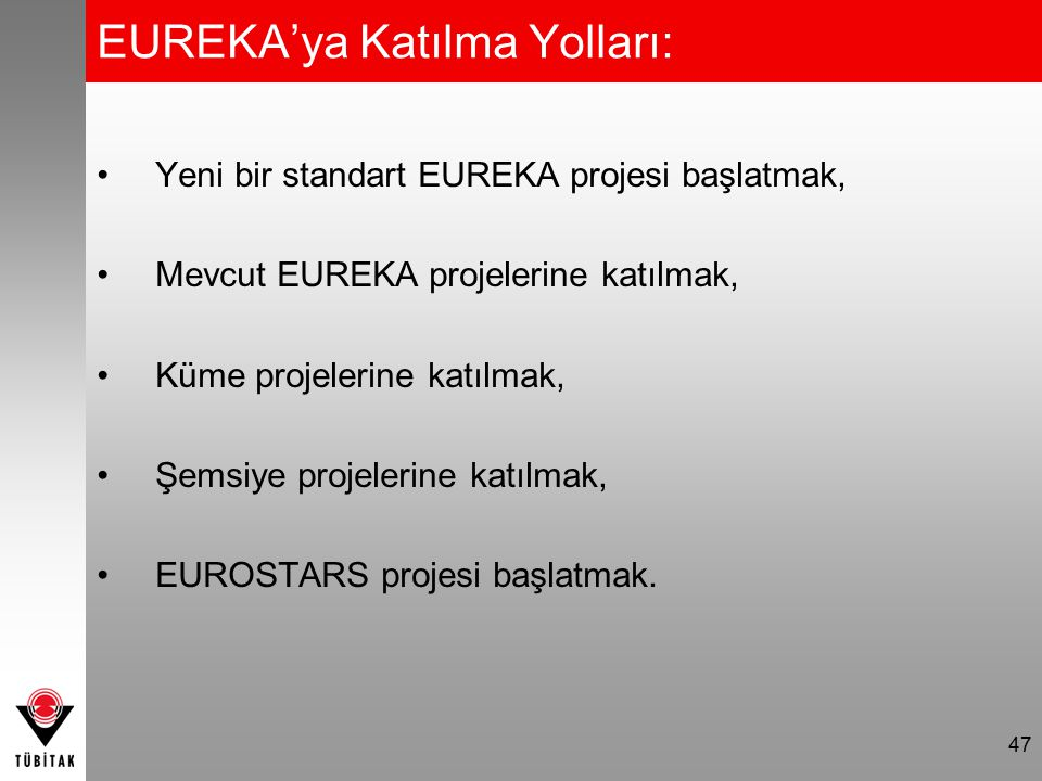 EUREKA'ya Katılma Yolları: Yeni bir standart EUREKA projesi başlatmak, Mevcut EUREKA projelerine katılmak, Küme projelerine katılmak, Şemsiye projeler