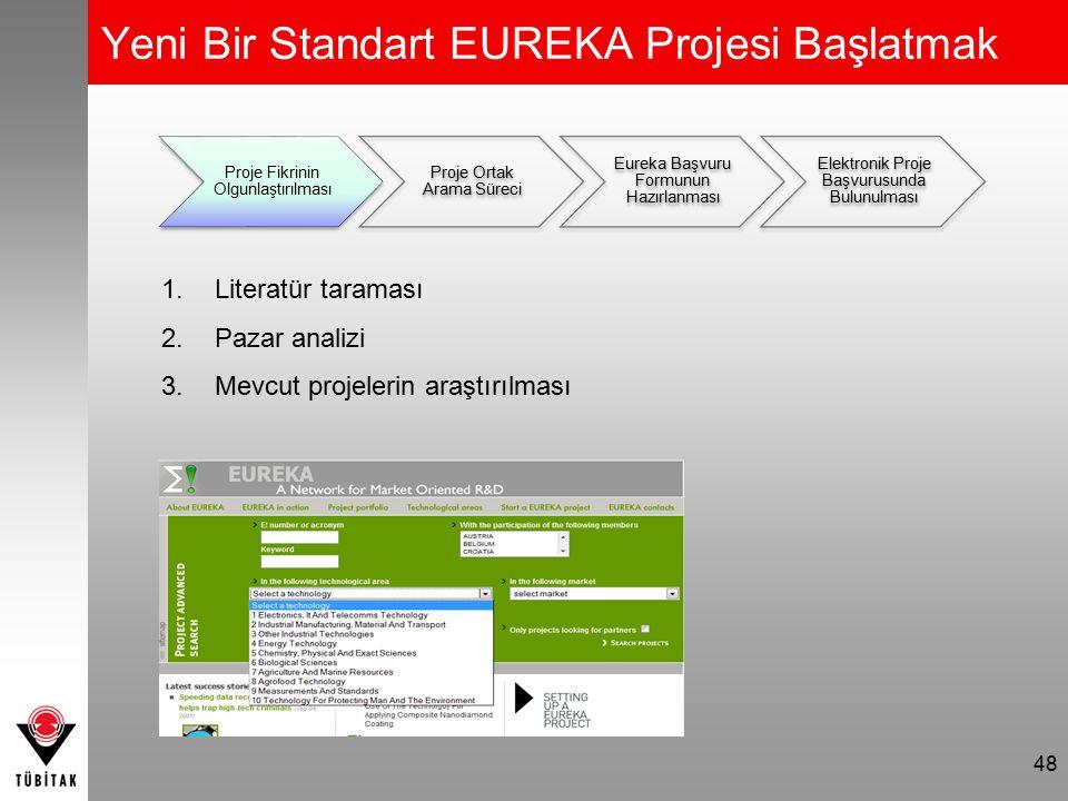 48 Proje Fikrinin Olgunlaştırılması Proje Ortak Arama Süreci Eureka Başvuru Formunun Hazırlanması Elektronik Proje Başvurusunda Bulunulması 1.Literatü