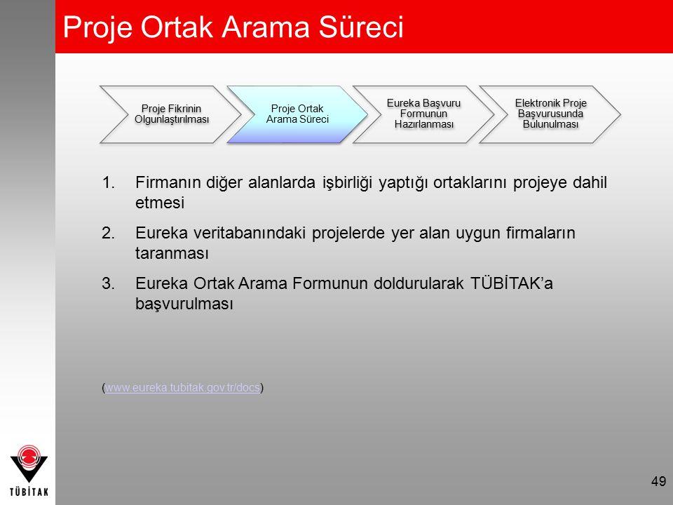 Proje Ortak Arama Süreci 49 Proje Fikrinin Olgunlaştırılması Proje Ortak Arama Süreci Eureka Başvuru Formunun Hazırlanması Elektronik Proje Başvurusun