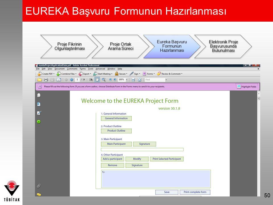 EUREKA Başvuru Formunun Hazırlanması 50 Proje Fikrinin Olgunlaştırılması Proje Ortak Arama Süreci Eureka Başvuru Formunun Hazırlanması Elektronik Proj