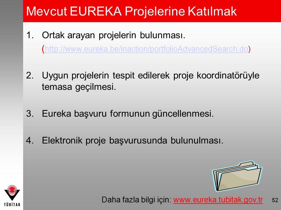 Mevcut EUREKA Projelerine Katılmak 1.Ortak arayan projelerin bulunması. ( http://www.eureka.be/inaction/portfolioAdvancedSearch.do) http://www.eureka.