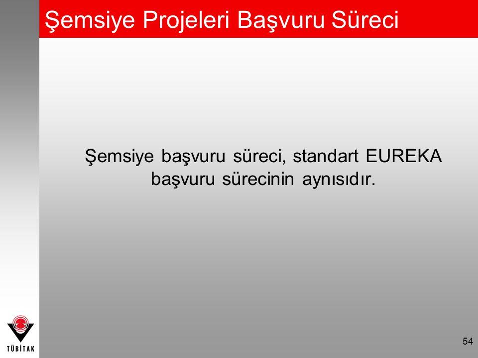 Şemsiye Projeleri Başvuru Süreci 54 Şemsiye başvuru süreci, standart EUREKA başvuru sürecinin aynısıdır.