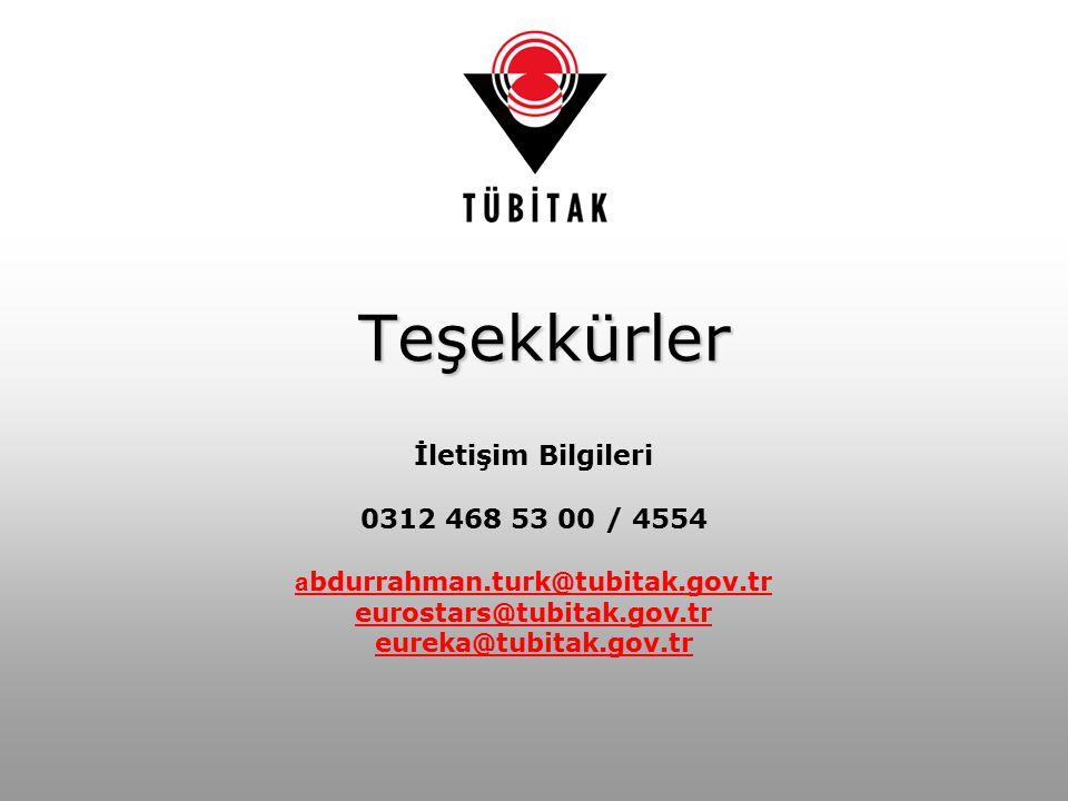 Teşekkürler İletişim Bilgileri 0312 468 53 00 / 4554 a bdurrahman.turk@tubitak.gov.tr eurostars@tubitak.gov.tr eureka@tubitak.gov.tr