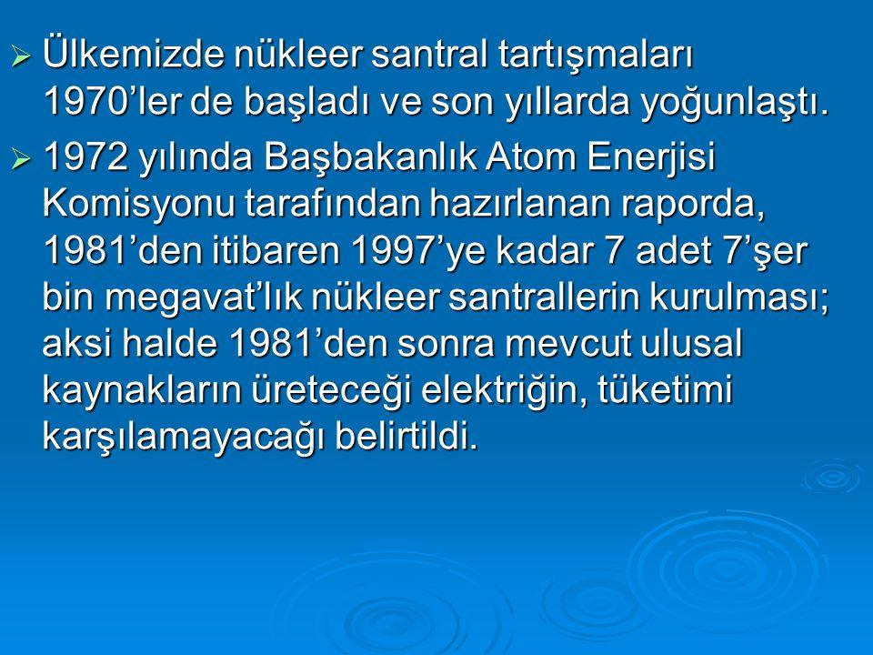  Ülkemizde nükleer santral tartışmaları 1970'ler de başladı ve son yıllarda yoğunlaştı.  1972 yılında Başbakanlık Atom Enerjisi Komisyonu tarafından
