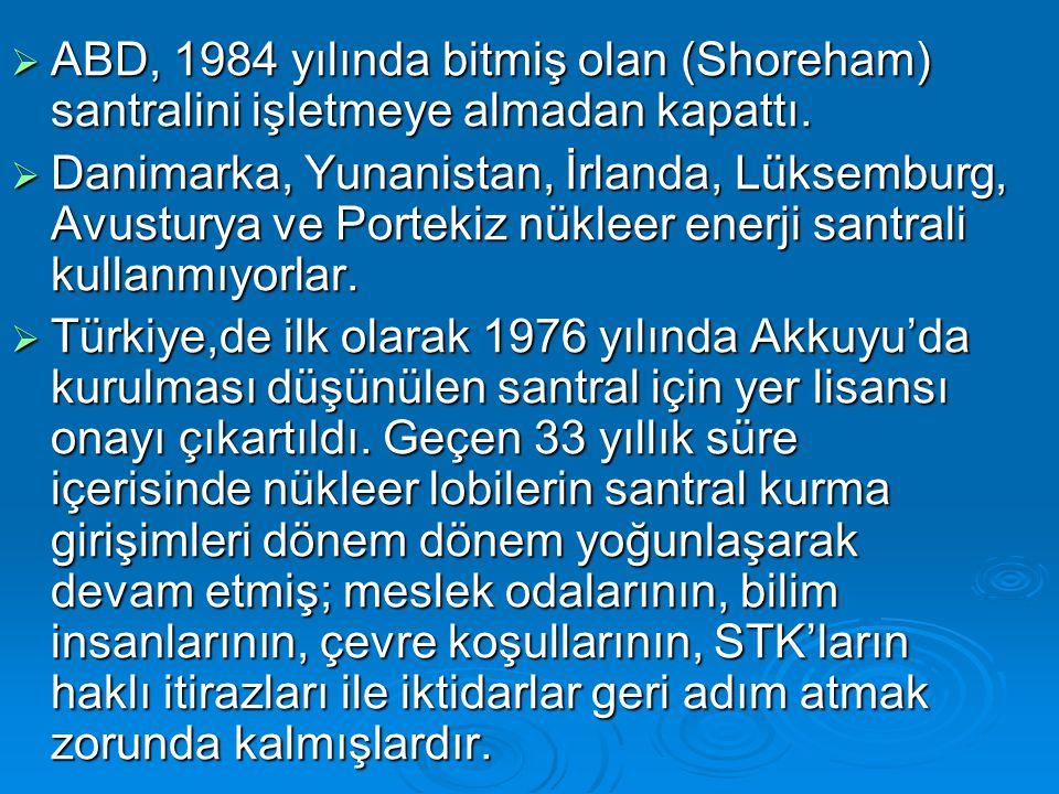  ABD, 1984 yılında bitmiş olan (Shoreham) santralini işletmeye almadan kapattı.  Danimarka, Yunanistan, İrlanda, Lüksemburg, Avusturya ve Portekiz n