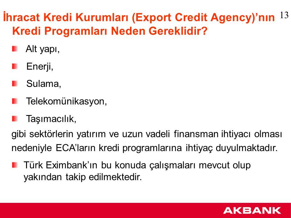 İhracat Kredi Kurumların (Export Credit Agency) finansman desteği Bugüne kadar aşağıda yeralan 16 ülkenin İhracat Kredi Kurumları Irak için USD 2 milyarın üzerinde kredi limiti tahsis etmişlerdir Türk Eximbank 2004 yılı programına Irak işlemlerini almak için gerekli çalışmaları başlatmıştır Polonya: KUKE Lüksemburg: ODL Japonya: NEXI İsviçre: ERG İsveç: EKN İtalya: SACE İspanya: CESCE İngiltere: ECGD Amerika: EXIM/OPIC Almanya: HERMES Avusturya: OeKB Avustralya: EFIC Belçika: ONDD Çek Cumhuriyeti: EGAP Danimarka: EKF Hollanda: NCM 14