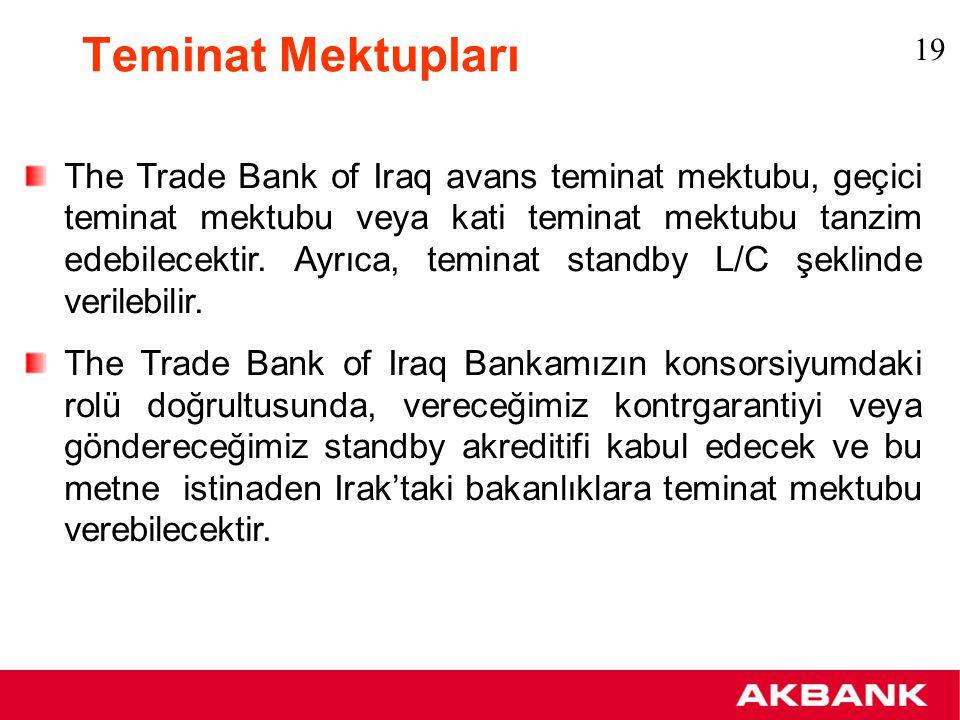 Teminat Mektupları Eğer müşterimiz Irak'ta yapacağı yatırım için kendi lehine bir teminat mektubu talep ediyorsa, The Trade Bank of Iraq konsorsiyumunda yeralan Operasyon Bankaları Bankamıza kontrgaranti veya standby akreditif gönderecek olup, bu garanti metni Bankamız tarafından müşterimize ihbar edilecektir.