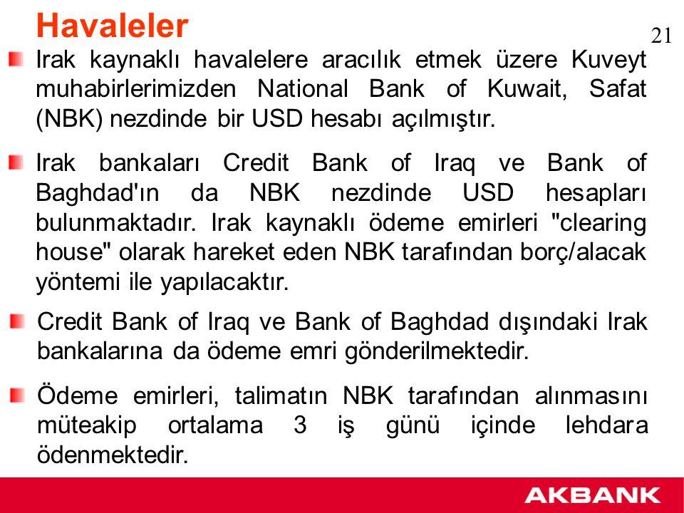 Havaleler: TBI Trade Bank of Iraq SWIFT sistemine üye olmak için başvuruda bulunmuştur.