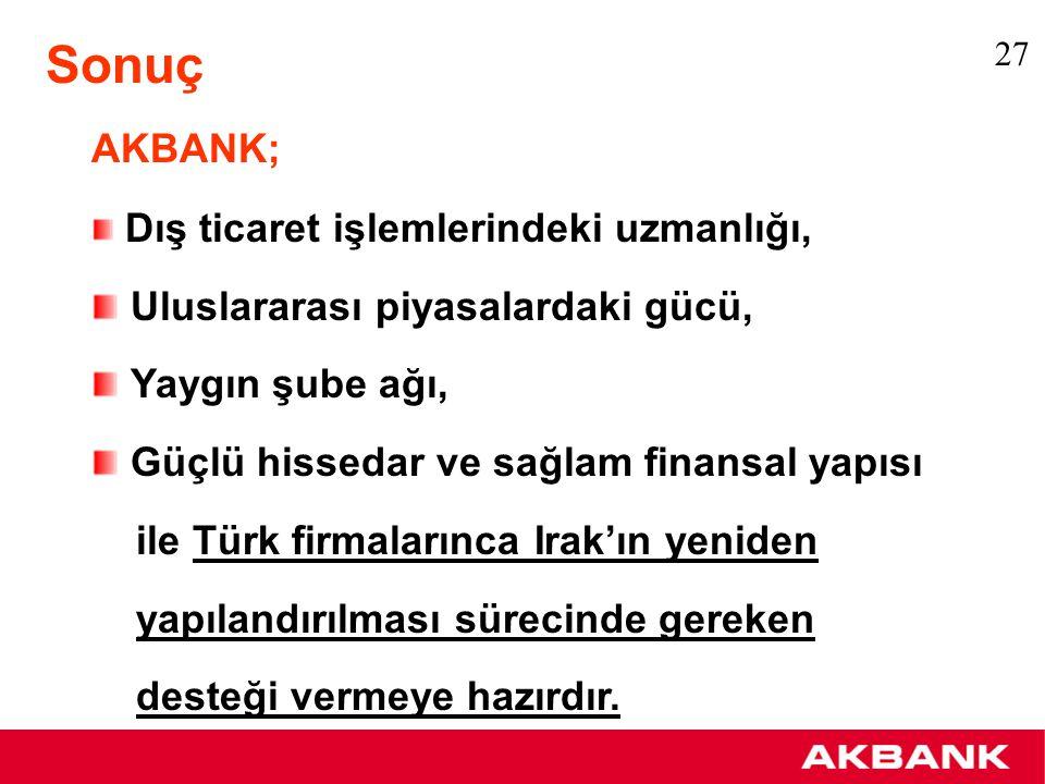 AKBANK; Dış ticaret işlemlerindeki uzmanlığı, Uluslararası piyasalardaki gücü, Yaygın şube ağı, Güçlü hissedar ve sağlam finansal yapısı ile Türk firm