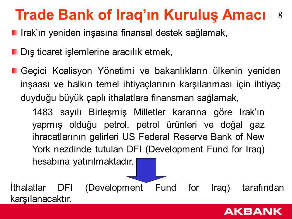Development Fund for Iraq'ın Kullanımı DFI, Federal Reserve Bank New York'ta Central Bank of Iraq / Development Fund for Iraq adında bir hesapta tutulmaktadır.