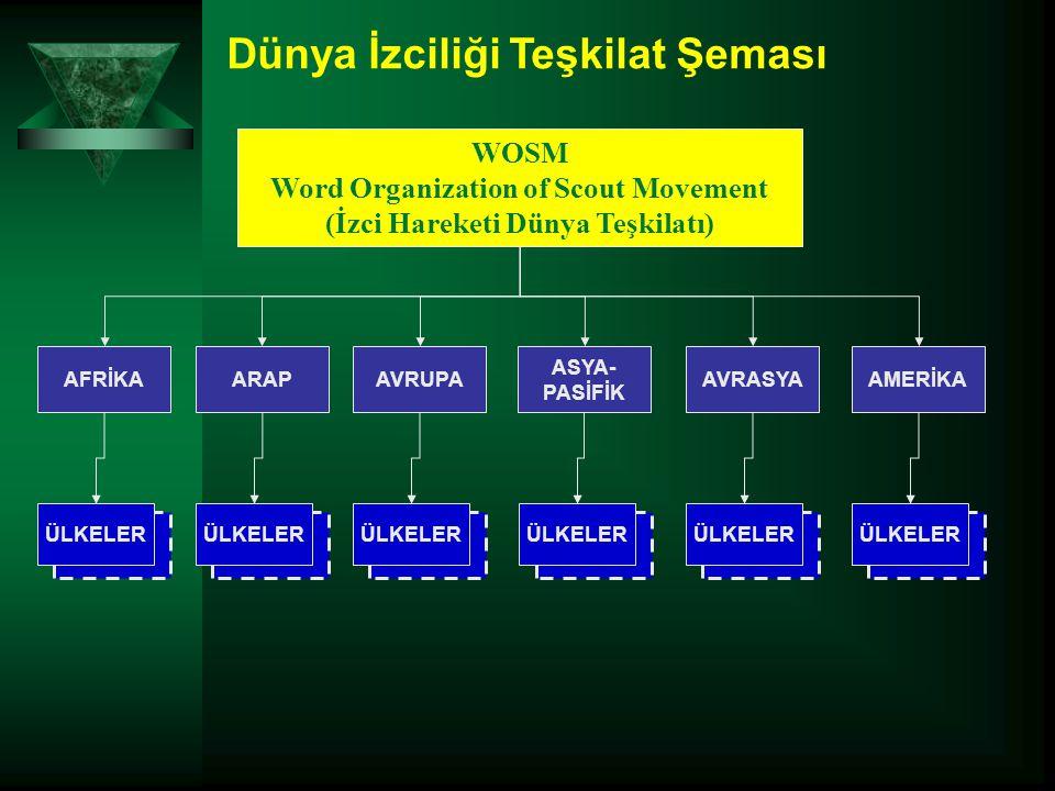 Dünya İzciliği Teşkilat Şeması ÜLKELER WOSM Word Organization of Scout Movement (İzci Hareketi Dünya Teşkilatı) AFRİKAAVRUPAARAPAMERİKA ASYA- PASİFİK
