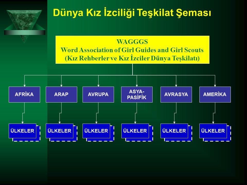Dünya Kız İzciliği Teşkilat Şeması ÜLKELER WAGGGS Word Association of Girl Guides and Girl Scouts (Kız Rehberler ve Kız İzciler Dünya Teşkilatı) AFRİKAAVRUPAARAPAMERİKA ASYA- PASİFİK AVRASYA ÜLKELER