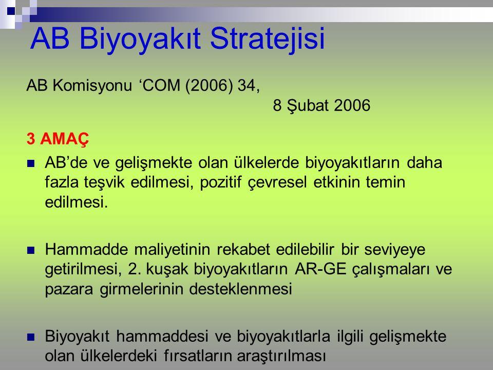 AB Komisyonu 'COM (2006) 34, 8 Şubat 2006 3 AMAÇ AB'de ve gelişmekte olan ülkelerde biyoyakıtların daha fazla teşvik edilmesi, pozitif çevresel etkini