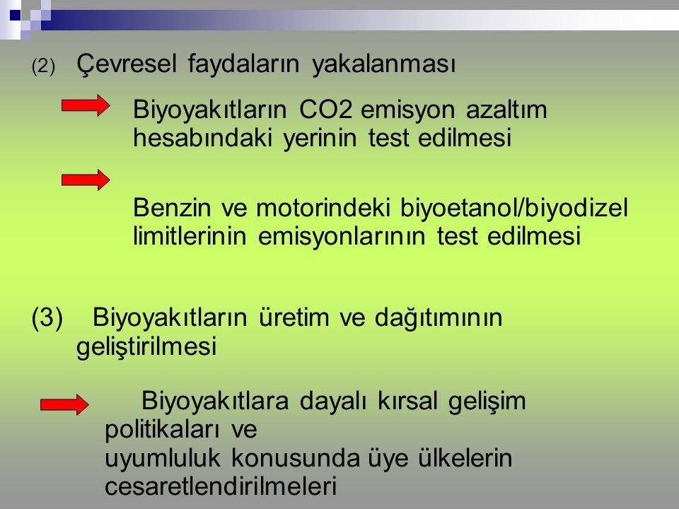 (2) Çevresel faydaların yakalanması Biyoyakıtların CO2 emisyon azaltım hesabındaki yerinin test edilmesi Benzin ve motorindeki biyoetanol/biyodizel li