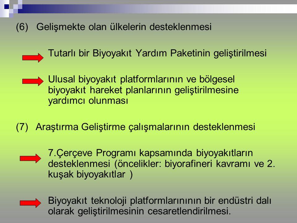 (6) Gelişmekte olan ülkelerin desteklenmesi Tutarlı bir Biyoyakıt Yardım Paketinin geliştirilmesi Ulusal biyoyakıt platformlarının ve bölgesel biyoyak