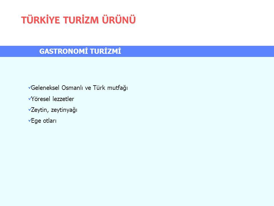 TÜRKİYE TURİZM ÜRÜNÜ GASTRONOMİ TURİZMİ Geleneksel Osmanlı ve Türk mutfağı Yöresel lezzetler Zeytin, zeytinyağı Ege otları