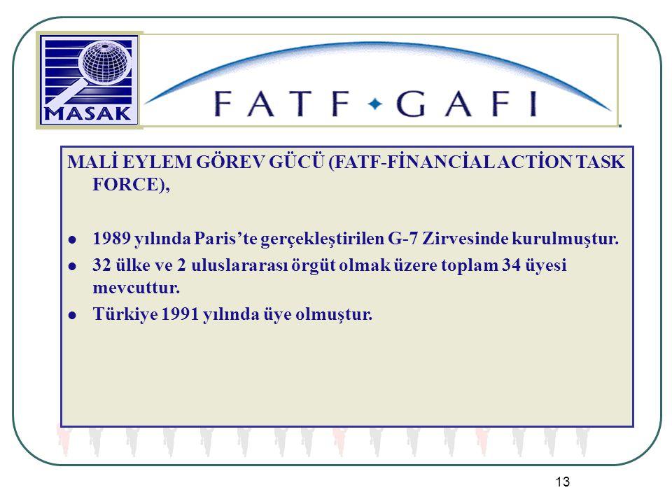 13 MALİ EYLEM GÖREV GÜCÜ (FATF-FİNANCİAL ACTİON TASK FORCE), 1989 yılında Paris'te gerçekleştirilen G-7 Zirvesinde kurulmuştur. 32 ülke ve 2 uluslarar