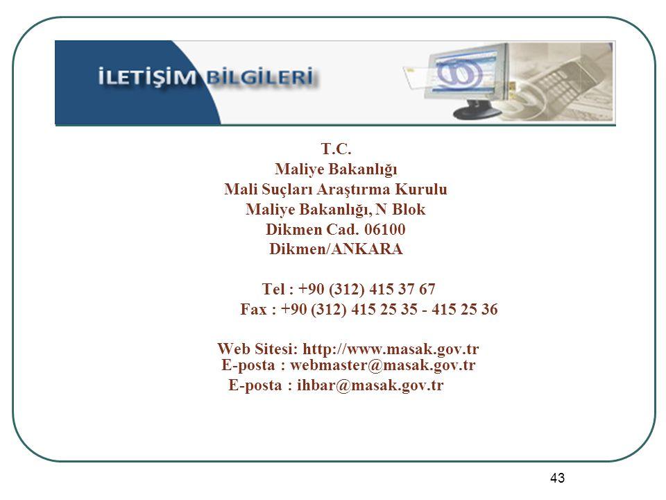 43 T.C. Maliye Bakanlığı Mali Suçları Araştırma Kurulu Maliye Bakanlığı, N Blok Dikmen Cad. 06100 Dikmen/ANKARA Tel : +90 (312) 415 37 67 Fax : +90 (3