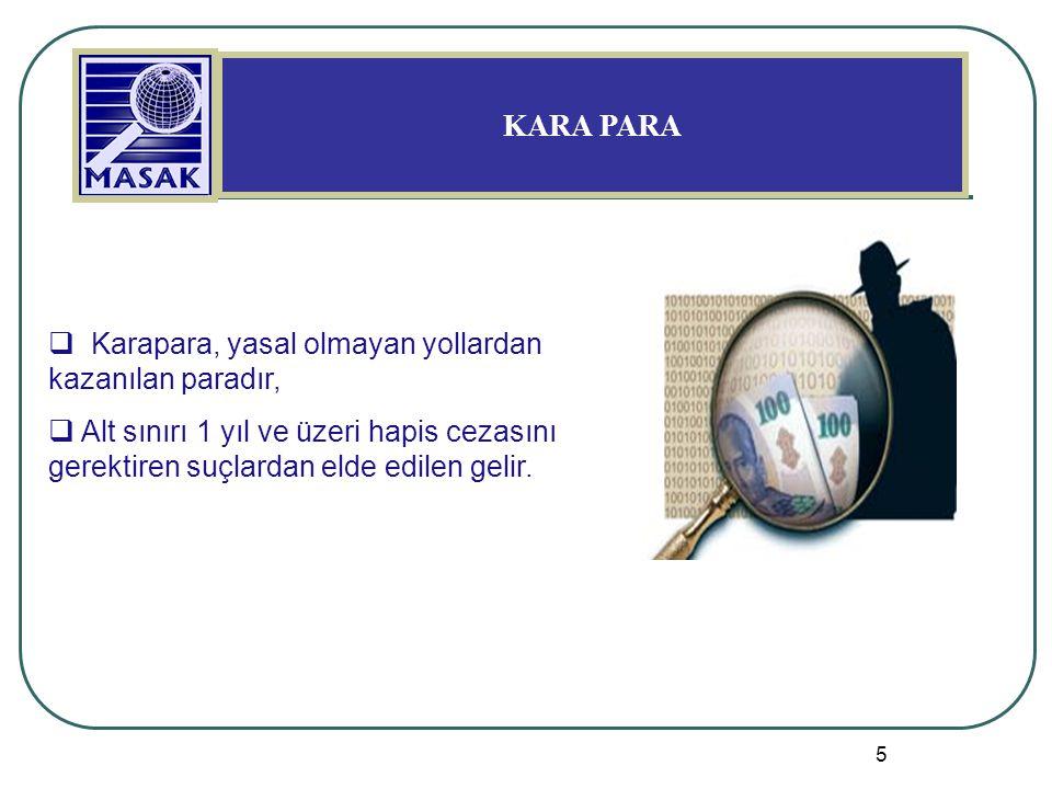 5 KARA PARA  Karapara, yasal olmayan yollardan kazanılan paradır,  Alt sınırı 1 yıl ve üzeri hapis cezasını gerektiren suçlardan elde edilen gelir.