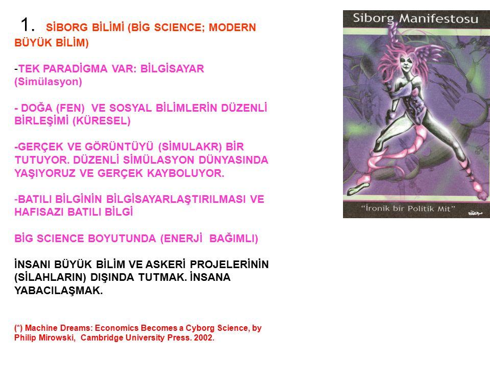 1. SİBORG BİLİMİ (BİG SCIENCE; MODERN BÜYÜK BİLİM) -TEK PARADİGMA VAR: BİLGİSAYAR (Simülasyon) - DOĞA (FEN) VE SOSYAL BİLİMLERİN DÜZENLİ BİRLEŞİMİ (KÜ