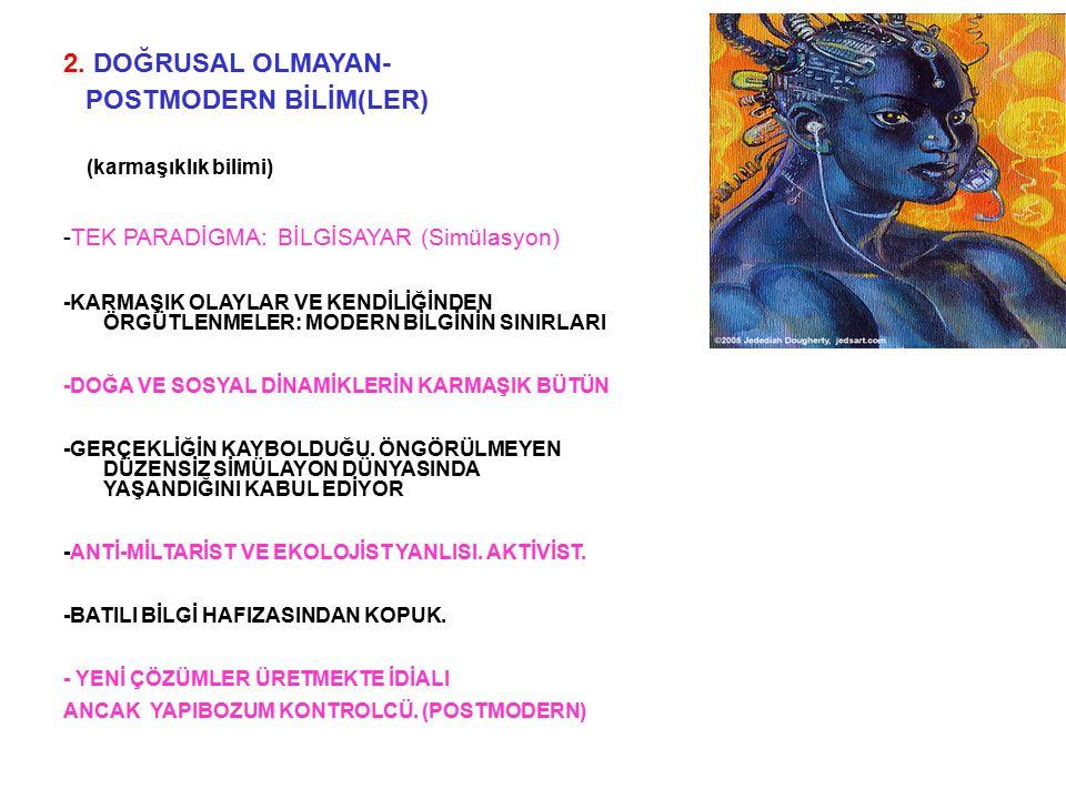 2. DOĞRUSAL OLMAYAN- POSTMODERN BİLİM(LER) (karmaşıklık bilimi) -TEK PARADİGMA: BİLGİSAYAR (Simülasyon) -KARMAŞIK OLAYLAR VE KENDİLİĞİNDEN ÖRGÜTLENMEL