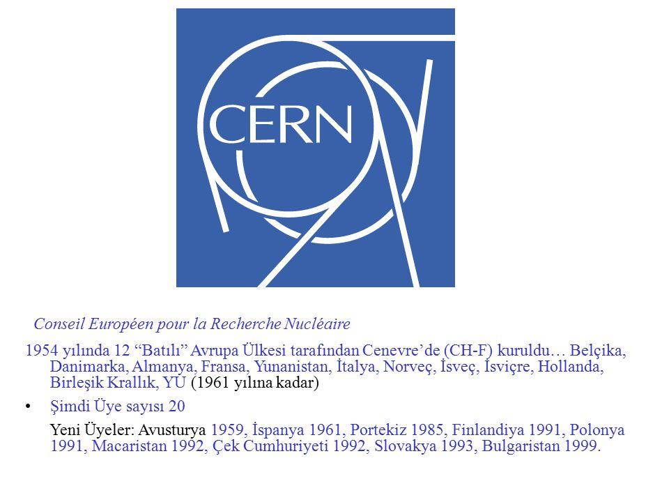 Conseil Européen pour la Recherche Nucléaire 1954 yılında 12 Batılı Avrupa Ülkesi tarafından Cenevre'de (CH-F) kuruldu… Belçika, Danimarka, Almanya, Fransa, Yunanistan, İtalya, Norveç, İsveç, İsviçre, Hollanda, Birleşik Krallık, YU (1961 yılına kadar) Şimdi Üye sayısı 20 Yeni Üyeler: Avusturya 1959, İspanya 1961, Portekiz 1985, Finlandiya 1991, Polonya 1991, Macaristan 1992, Çek Cumhuriyeti 1992, Slovakya 1993, Bulgaristan 1999.