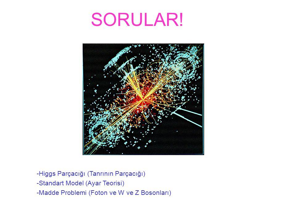SORULAR! -Higgs Parçacığı (Tanrının Parçacığı) -Standart Model (Ayar Teorisi) -Madde Problemi (Foton ve W ve Z Bosonları)