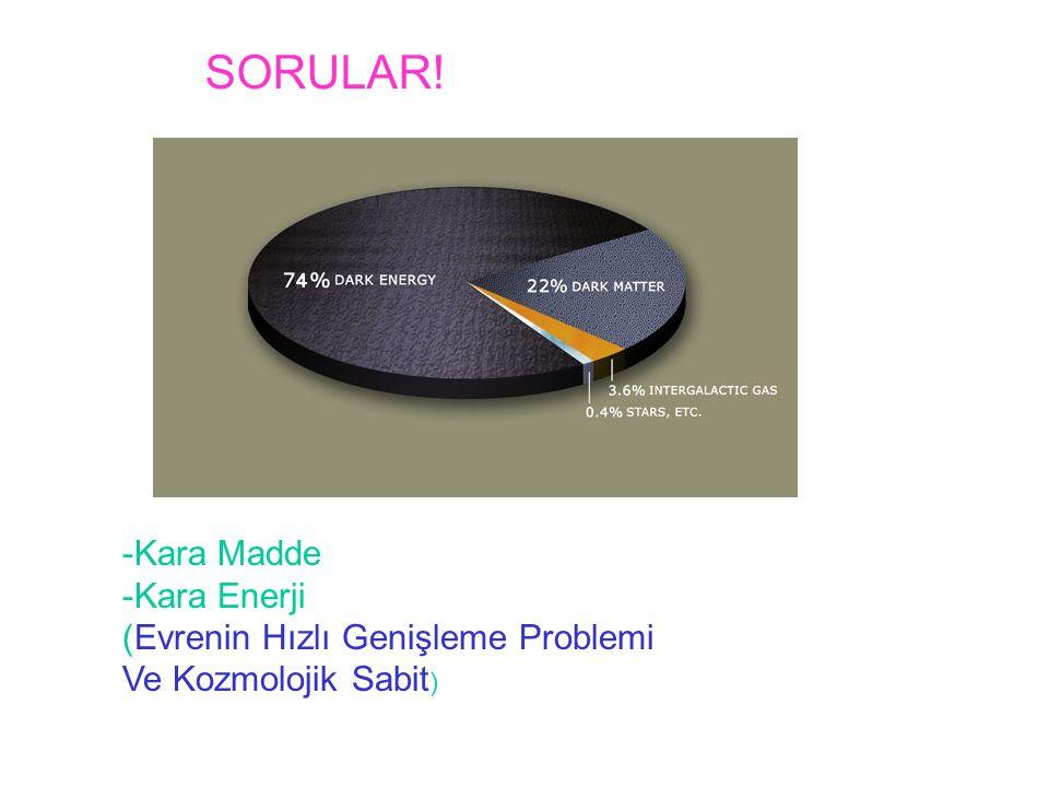 -Kara Madde -Kara Enerji (Evrenin Hızlı Genişleme Problemi Ve Kozmolojik Sabit ) SORULAR!