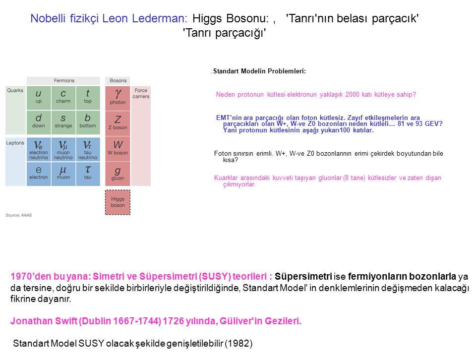 Nobelli fizikçi Leon Lederman: Higgs Bosonu:, 'Tanrı'nın belası parçacık' 'Tanrı parçacığı'.Standart Modelin Problemleri: Neden protonun kütlesi elekt