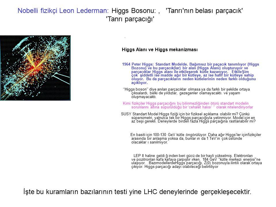Nobelli fizikçi Leon Lederman: Higgs Bosonu:, 'Tanrı'nın belası parçacık' 'Tanrı parçacığı'. Higgs Alanı ve Higgs mekanizması 1964 Peter Higgs: Standa
