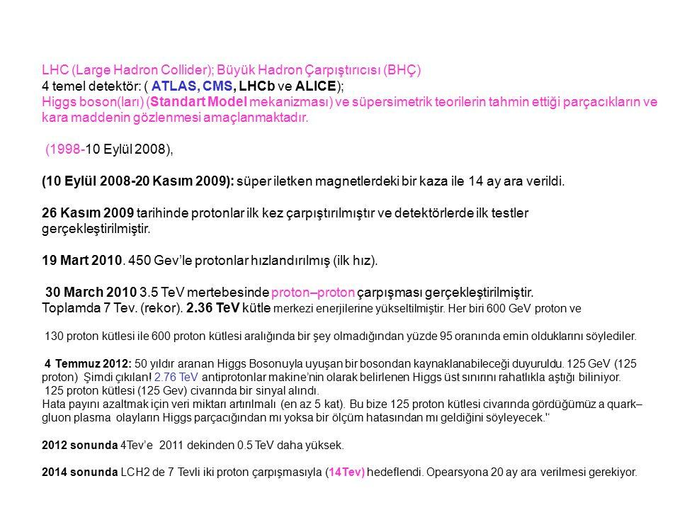 LHC (Large Hadron Collider); Büyük Hadron Çarpıştırıcısı (BHÇ) 4 temel detektör: ( ATLAS, CMS, LHCb ve ALICE); Higgs boson(ları) (Standart Model mekan