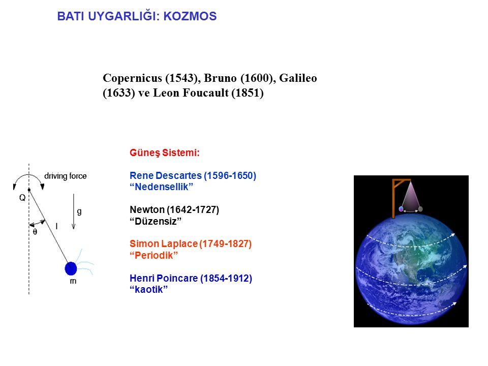 BATI UYGARLIĞI: KOZMOS Copernicus (1543), Bruno (1600), Galileo (1633) ve Leon Foucault (1851) Güneş Sistemi: Rene Descartes (1596-1650) Nedensellik Newton (1642-1727) Düzensiz Simon Laplace (1749-1827) Periodik Henri Poincare (1854-1912) kaotik