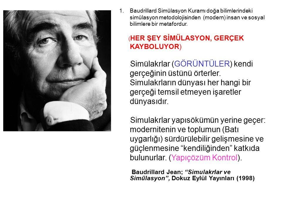 1.Baudrillard Simülasyon Kuramı doğa bilimlerindeki simülasyon metodolojisinden (modern) insan ve sosyal bilimlere bir metafordur. ( HER ŞEY SİMÜLASYO