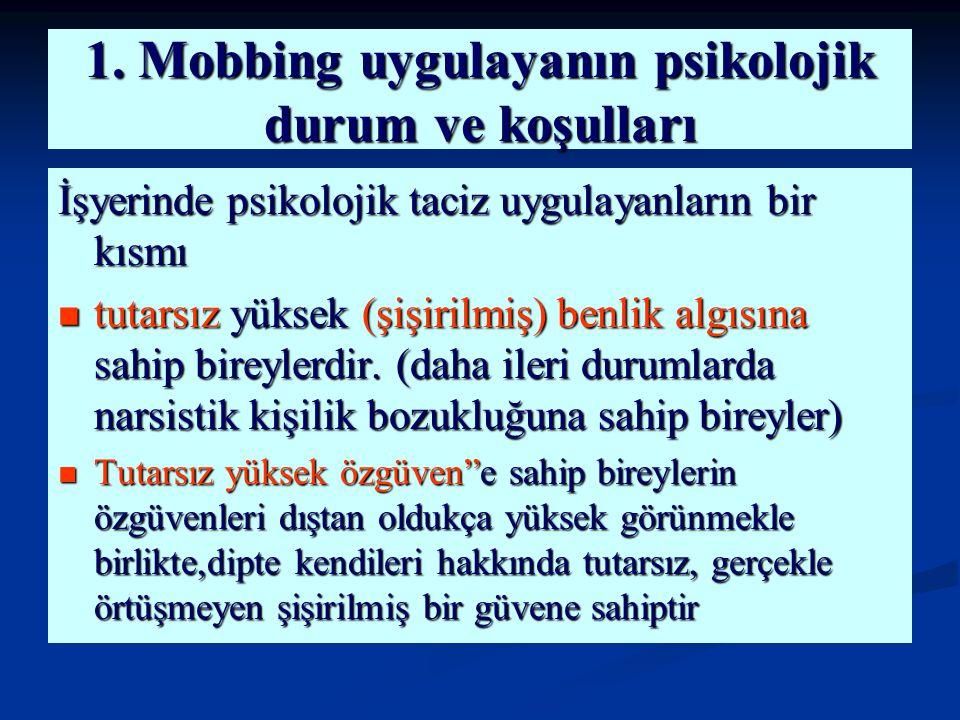 1. Mobbing uygulayanın psikolojik durum ve koşulları İşyerinde psikolojik taciz uygulayanların bir kısmı tutarsız yüksek (şişirilmiş) benlik algısına