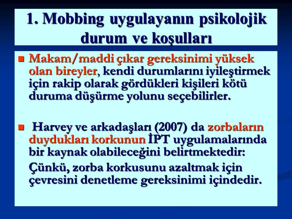 1. Mobbing uygulayanın psikolojik durum ve koşulları Makam/maddi çıkar gereksinimi yüksek olan bireyler, kendi durumlarını iyileştirmek için rakip ola