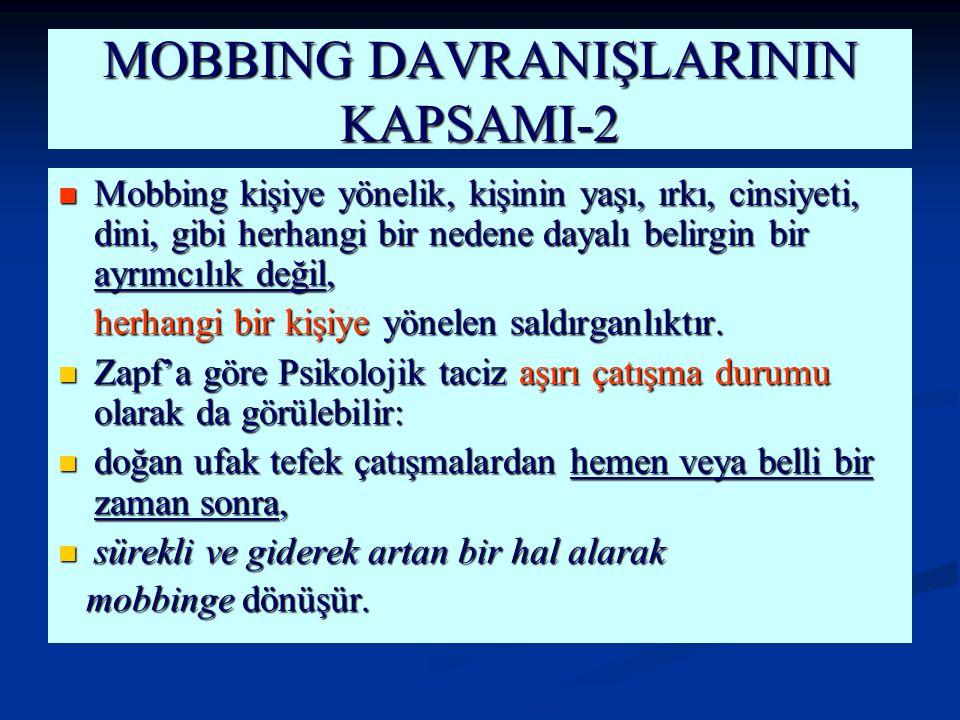 MOBBING DAVRANIŞLARININ KAPSAMI-2 Mobbing kişiye yönelik, kişinin yaşı, ırkı, cinsiyeti, dini, gibi herhangi bir nedene dayalı belirgin bir ayrımcılık