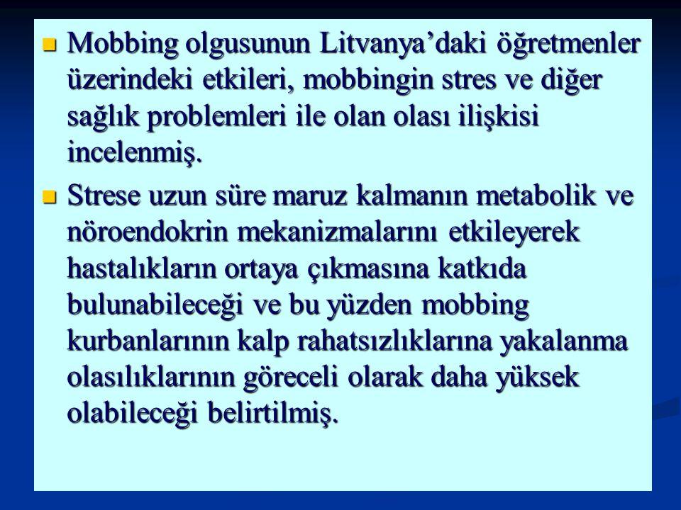 Mobbing olgusunun Litvanya'daki öğretmenler üzerindeki etkileri, mobbingin stres ve diğer sağlık problemleri ile olan olası ilişkisi incelenmiş. Mobbi