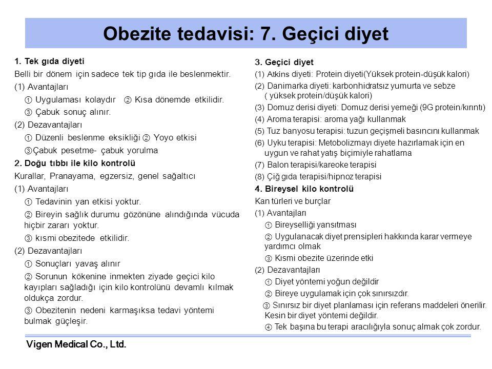 Vigen Medical Co., Ltd. Obezite tedavisi: 7. Geçici diyet 1.Tek gıda diyeti Belli bir dönem için sadece tek tip gıda ile beslenmektir. (1) Avantajları
